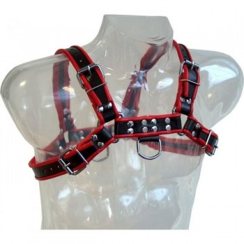LEATHER BODY CHAIN HARNESS III BLACK RED